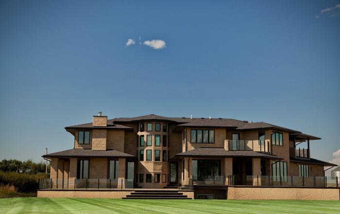 Lethbridge custom home exterior grassy lake