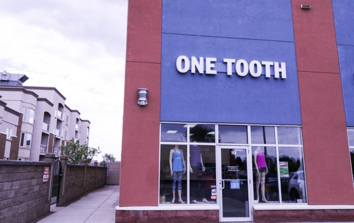 One Tooth yoga and exercise apparel Lethbridge commercial renovation